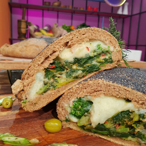 Calzone integral con vegetales